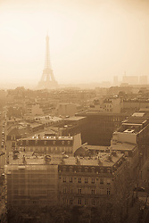 view of Paris from the Triumphal Arch, the Eiffel Tower in the distance
