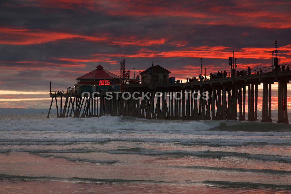 The Huntington Beach Pier At Sunset Orange County, California