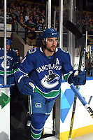 KELOWNA, BC - SEPTEMBER 29:  Christopher Tanev #8 of the Vancouver Canucks enters the ice against the Arizona Coyotes at Prospera Place on September 29, 2018 in Kelowna, Canada. (Photo by Marissa Baecker/NHLI via Getty Images)  *** Local Caption *** Christopher Tanev