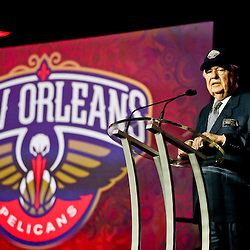 Jan 21, 2013; New Orleans, LA, USA; New Orleans Hornets owner Tom Benson during a press conference to announce the rebranding of the team to the New Orleans Pelicans effective in the 2013-2014 NBA season at the New Orleans Arena. Mandatory Credit: Derick E. Hingle-USA TODAY Sports