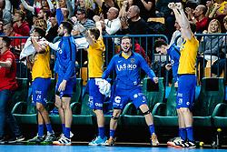 Gal Marguč of RK Celje Pivovarna Lasko celebrating with players during handball match between RK Celje Pivovarna Lasko (SLO) and RK PPD Zagreb (CRO) in 7th Round of EHF Champions League 2019/20, on November 10, 2019 in Arena Zlatorog, Celje, Slovenia. Photo Grega Valancic / Sportida