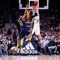 03 April 2018: Denver Nuggets forward Wilson Chandler (21) goes for the layup past Indiana Pacers center Myles Turner (33) during the Denver Nuggets 107-104 victory over the Indiana Pacers, at the Pepsi Center, Denver, Colorado, USA.
