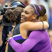 2019 US Open Tennis Tournament- Day Thirteen.  Winner   Bianca Andreescu of Canada is hugged at the net by Serena Williams of the United States after the Women's Singles Final on Arthur Ashe Stadium during the 2019 US Open Tennis Tournament at the USTA Billie Jean King National Tennis Center on September 7th, 2019 in Flushing, Queens, New York City.  (Photo by Tim Clayton/Corbis via Getty Images)