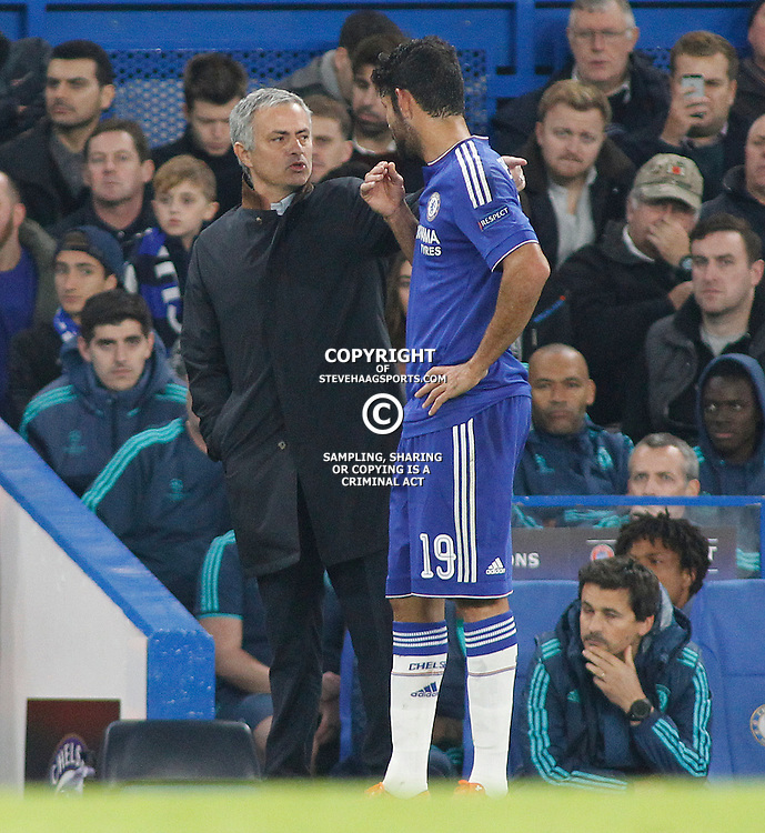 LONDON, ENGLAND - NOVEMBER 04: Manager Jose Mourinho of Chelsea issues instructions to Diego Costa of Chelsea  during the Champions League match between Chelsea and Dynamo Kyiv at Stamford Bridge on November 04, 2015 in London, United Kingdom. (Photo by Mitchell Gunn/Getty Images) ***Local Caption***Jose Mourinho;Diego Costa