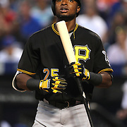 NEW YORK, NEW YORK - June 15: Gregory Polanco #25 of the Pittsburgh Pirates batting during the Pittsburgh Pirates Vs New York Mets regular season MLB game at Citi Field on June 15, 2016 in New York City. (Photo by Tim Clayton/Corbis via Getty Images)