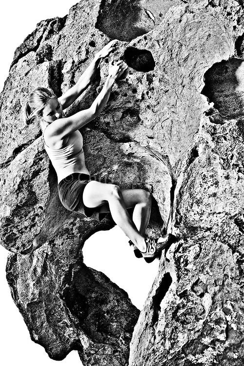 Beth Rodden bouldering at the Happy Boulders, Bishop California