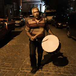 Yağup Kapcak, 45, works as a Ramadan drummer in Istanbul.<br />
