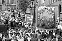 Shafton Workshops Branch banner. Yorkshire Area NUM 100th Demonstration and Gala, Barnsley.