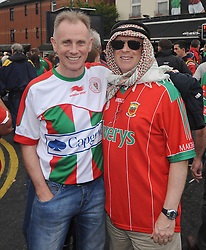 Mayo fans Liam and Paddy Maher bringing the colour to Croke Park on All Ireland final day.<br />