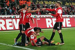 13.12.2011, Rhein Energie Stadion, Koeln, GER, 1.FBL, 1. FC Koeln vs Mainz 05, im BildTorjubel/ Jubel nach dem 0:1 durch Sami Allagui (Mainz #9) (am Boden, mit Mario Gavranovic (Mainz #22)) dazu kommen Julian Baumgartlinger (Mainz #14) und Jan Kirchhoff (Mainz #15) (R) // during the 1.FBL, 1. FC Koeln vs Mainz 05 on 2011/12/13, Rhein-Energie Stadion, Köln, Germany. EXPA Pictures © 2011, PhotoCredit: EXPA/ nph/ Mueller..***** ATTENTION - OUT OF GER, CRO *****