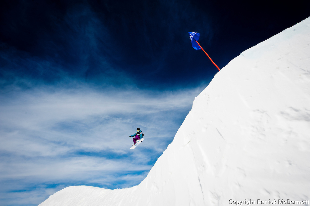 Indigo Monk of the United States competes in the U.S. Snowboarding Grand Prix Slopestyle Qualifier in Mammoth Lakes, Calif., on Jan. 7, 2010.