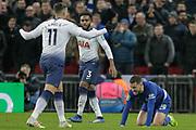 Tottenham Hotspur midfielder Erik Lamela (11) fouls Chelsea midfielder Eden Hazard (10) during the EFL Cup semi-final match between Tottenham Hotspur and Chelsea at Wembley Stadium, London, England on 8 January 2019.
