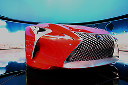 "08 February 2012:  LEXUS LF-LC CONCEPT: A must see vehicle at the 2012 Chicago Auto Show is the Lexus LF-LC Concept hybrid 2+2 sport coupe that pushes the boundaries of performance, style and technology. Created by the company's Calty design studio in California, the front-engine, rear-wheel drive LF-LC is equipped with an Advanced Lexus Hybrid Drive, delivering both performance and fuel efficiency. Sumptuous body curves and the powerful silhouette makes the LF-LC unmistakably that of a serious driver's car. The LF-LC displays the signature Lexus spindle grille and the taillights, inspired by the look of a jet afterburner at take-off, use inner lighting to create a remarkable sense of depth. Daytime running lights are shaped like an ""L"" while the vertical fog lamps utilize a fading dot matrix pattern to suggest a sense of movement. The rear is also fitted with fog lamps, repeating the fading dot matrix pattern of the front fog lamps. A glass roof features a lightweight, cantilevered pillar with a glass-to-glass juncture inspired by modern architecture. The interior of the LF-LC expresses a feeling of both openness and security, with the driver enveloped by deeply scooped side panels and a high, curved console. Chicago Auto Show, Chicago Automobile Trade Association (CATA), McCormick Place, Chicago Illinois"