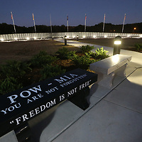 The newly completed Vietnam Memorial Wall stands ready to accept guest following Thursday's opening ceremony at Veterans Park in Tupelo.