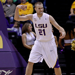 November 30, 2010; Baton Rouge, LA, USA;  LSU Tigers forward Matt Derenbecker (21) during the first half against the Houston Cougars at the Pete Maravich Assembly Center.  Mandatory Credit: Derick E. Hingle