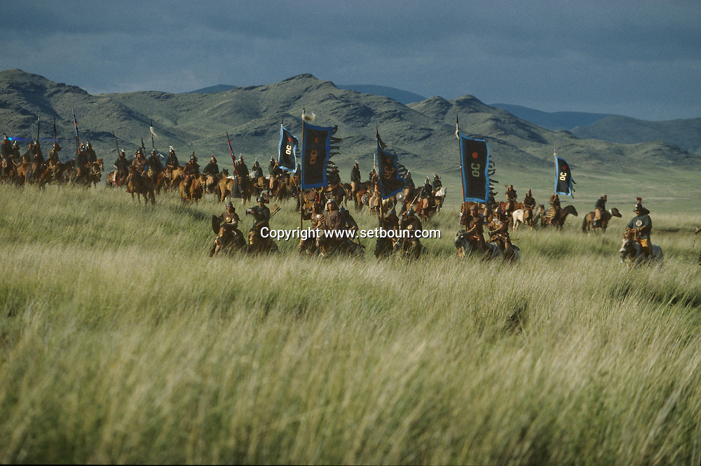 Mongolia. Mr. Baljiniam shooting Gengis Khan movie. This scene represents the attack on Samarkand, that soon fell to the Mongol warriors.  The Saracen army.  Underchirit,