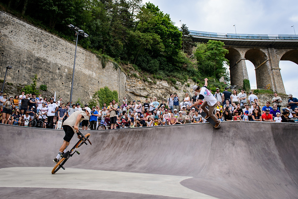 Viki Gomez and Danny Leon perform during Red Bull 3en1 at Skatepark Péitruss, Luxembourg, Luxembourg, June 3, 2017.