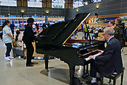 Rocky Mountaineer train terminal, Vancouver, BC, grand piano reception, British Columbia