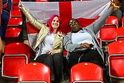 Two England fans ahead of the UEFA European 2020 Qualifier match between Czech Republic and England at Sinobo Stadium, Prague, Czech Republic on 11 October 2019.