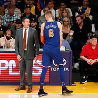 21 January 2018: New York Knicks forward Kristaps Porzingis (6) talks to New York Knicks head coach Jeff Hornacek during the LA Lakers 127-107 victory over the New York Knicks, at the Staples Center, Los Angeles, California, USA.