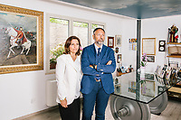 PAOLA, ITALY - 13 JUNE 2018:  (L-R) CEO Maria Antonietta Ventura and her brother CFO Alessandro Ventura pose for a portait in the headquarters of Gruppo Ventura,  a family-owned company that installs railroad tracks and does locomotives maintenance,  in Paola, Italy, on June 13th 2018.<br /> <br /> Alessandro Ventura, CFO of Gruppo Ventura, traveled there some 20 times over the last three years, establishing a venture with an Iranian company engaged in expanding the national rail network. In March 2017, he signed a 2 million euro contract (about $2.3 million) to service a section of rail outside Teheran.<br /> He shipped two locomotives used to tamp down the rocks below railroad tracks. They went out on a freighter from Gioia Tauro, a port on the Tyrrhenian Sea that has long been notorious as a Mafia-run conduit for cocaine trafficking.<br /> Last August, Mr. Ventura stood at the Iranian port of Bandar Abbas in 122 degree heat, watching a crane hoist the locomotives onto the docks.<br /> Now, those machines are effectively marooned, the business halted. Gruppo Ventura has lost appetite for adventurous expansion.<br /> <br /> Once the Obama administration struck the nuclear deal with Iran three years ago, Italy saw a chance. Last year, Italy exported more than 1.7 billion euros (nearly $2 billion) worth of goods to Iran. Then, President Trump withdrew the United States from the Iran deal and vowed to reinstate sanctions, dealing a blow to companies across Europe — especially those from Italy, Germany and France.