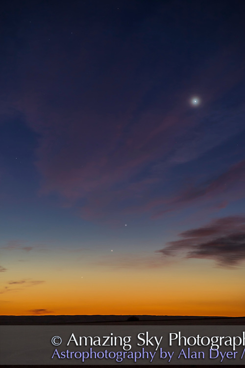 A gathering of the three inner rocky planets (plus Earth is there, too!) in the dawn sky on September 12, 2017, with:<br /> &bull; Venus bright at top in the high cirrus<br /> &bull;&nbsp;Mars lowest of the trio below Mercury and &hellip;<br /> &bull;&nbsp;Mercury below Regulus, low, but at its greatest western elongation this morning, at the best dawn apparition of the year for northern latitudes. So this is about as high as Mercury gets. <br /> <br /> Mercury was very obvious naked eye without any searching required. Mars needed binoculars to readily pick out. <br /> <br /> This is a single exposure with the Rokinon 85mm lens and Canon 6D MkII.