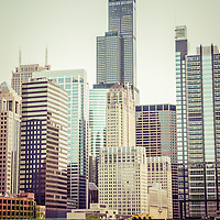 Picture of vintage Chicago with Willis Tower (Sears Tower) and other downtown Chicago city buildings. Willis Tower is one of the world's tallest skyscrapers.