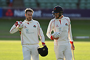 Tom Bailey of Lancashire and Kyle Jarvis of Lancashire walk from the field at the end of the third days play during the Specsavers County Champ Div 1 match between Somerset County Cricket Club and Lancashire County Cricket Club at the Cooper Associates County Ground, Taunton, United Kingdom on 14 September 2017. Photo by Graham Hunt.