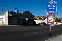 Historic Route 66 sign opposite of the Route 66 Museum, Victorville, California, United States of America