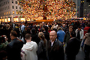 people gathering at the Rockefeller Center by the Christmas tree in New York