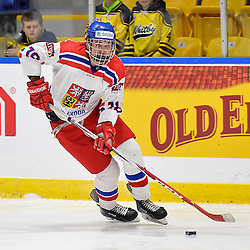 WHITBY, - Dec 16, 2015 -  Game #8 - Czech Republic vs. Canada East at the 2015 World Junior A Challenge at the Iroquois Park Recreation Complex, ON. Milan Davidek #18 of Team Czech Republic skates with the puck during the first period.<br /> (Photo: Shawn Muir / OJHL Images)