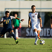 09 September 2018: San Diego State Aztecs midfielder Emil Kjellker (6) passes the ball up the field in the first half. The San Diego State men's soccer team beat UC Irvine in overtime 2-1 Sunday afternoon at the SDSU Sports Deck.
