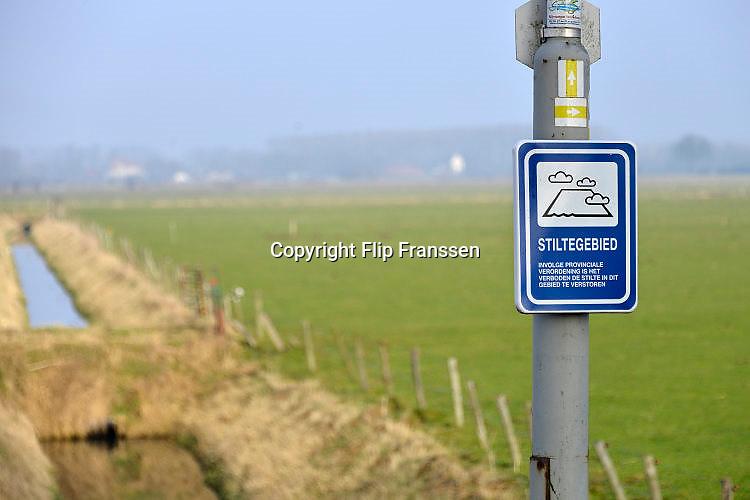 Nederland, Persingen, 18-1-2017Landelijk gebied in de Ooijpolder. Er is aangegeven dat dit een stiltegebied is.Foto: Flip Franssen