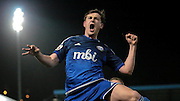 Sam Walker (Halifax) celebrates scoring Halifax's equaliser during the Conference Premier League match between FC Halifax Town and Guiseley at the Shay, Halifax, United Kingdom on 5 December 2015. Photo by Mark P Doherty.