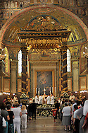 "Roma 5 Agosto 2009.Basilica Papale di Santa Maria Maggiore.Solennità di Santa Maria della Neve, la tradizionale pioggia di fiori, che evoca il ""Miracolo della Neve"" ovvero la prodigiosa nevicata avvenuta il 5 agosto del 358. Secondo un'antica tradizione, in quella notte la Vergine Maria apparve a Papa Liberio e chiese la costruzione di una chiesa nel luogo in cui sarebbe caduta la neve. Il Cardinale Bernard Francis Law, Arciprete della Papale Basilica Liberiana di Santa Maria Maggiore presiede la cerimonia..Rome August 5 th 2009    .Papal Liberian Basilica of St. Mary Major   .Solemnity of Saint Maria of the Snow, the traditional rain of flowers, that evokes the ""Miracle of the Snow"", or the prodigious happened snowfall the 5 August of 358. According to an ancient tradition, in that night the Virgo Maria appeared to Pope Liberio and churches the construction of a church in the place in which snow would be fallen. The Cardinal Bernard Francis Law, Archpriest of the Papal Liberian Basilica of St. Mary Major in Rome presides the ceremony..http://www.americancatholic.org/Features/SaintofDay/default.aspx"
