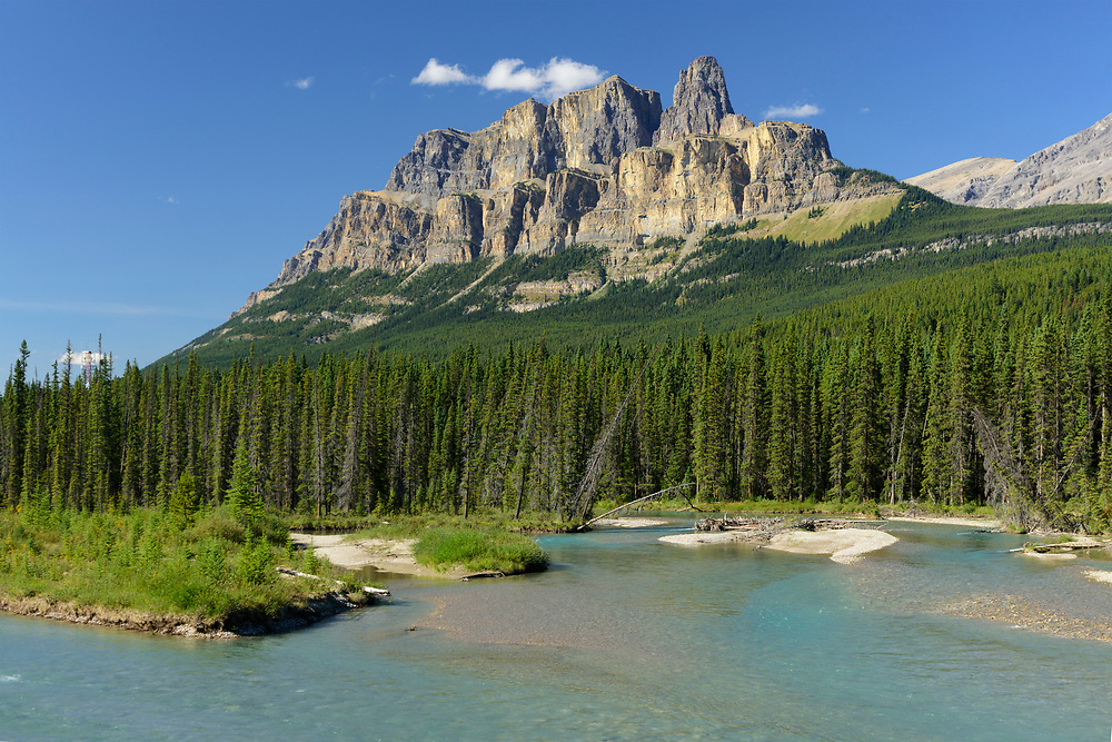 North America, Canada, Canadian,Alberta, Rocky Mountains, Banff National Park, UNESCO, World Heritage, Castle Mountain and Bow River