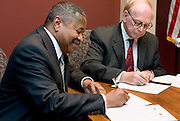 Ohio University's president, Roderick McDavis, and Hocking College's president, John Light, sign an agreement making it easier for students to study at both colleges. Photographed at Hocking College on Monday, 3/12/07.