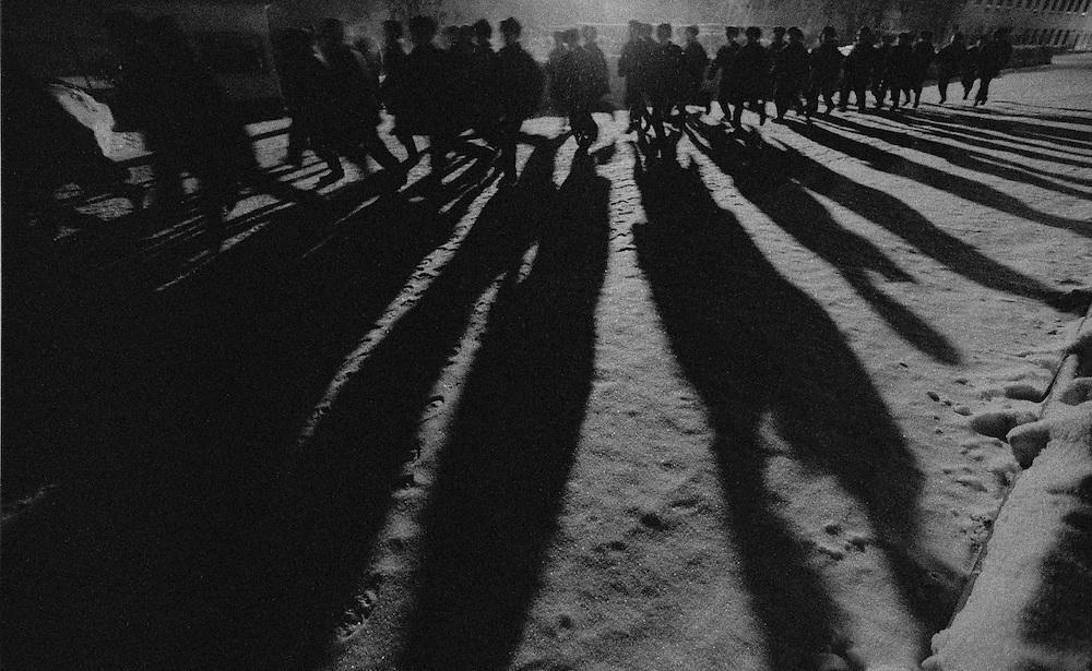 The prisoners children do their evening run at the colony for prisoner's children in Siberian town Leninsk-Kuznetsky, Russia, 26 January 2000.