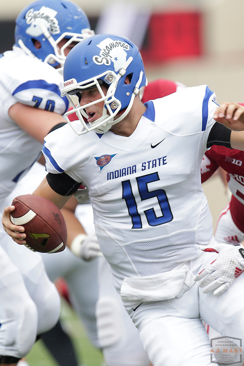 Indiana State Sycamores quarterback Mike Perish (15) as the Indiana Hoosiers played the Indiana State Sycamores in a college football game in Bloomington, IN.