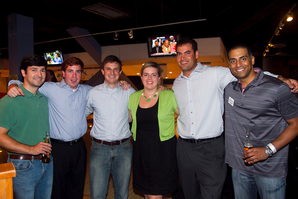 """BAY_BowlingForDreams..Caption:(Thursday 08/12/2010 Tampa)Thomas Burns, Travis Santos, Jeff Wilcox, Jill Bell, Ethen Shapiro and Ben Dachepalli, all from the law firm of Hill Ward Henderson make up Team Canada. ..Summary:3rd Annual """"Bowling for Dreams""""..Photo by James Branaman"""