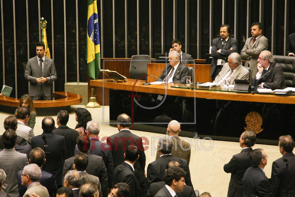 Brasilia, 19-03-2015.Deputado Leonardo Picciani, discursa no plenario durante sessao e pede reducao de ministerios.Foto: Joel Rodrigues/FRAME.