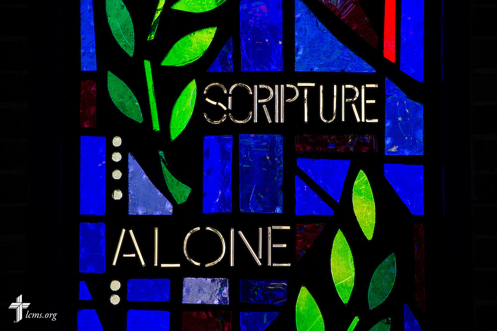 "Stained glass with the words ""Scripture Alone"" on Sunday, Nov. 22, 2015, at Salem Lutheran Church in Springdale, Ark. LCMS Communications/Erik M. Lunsford"