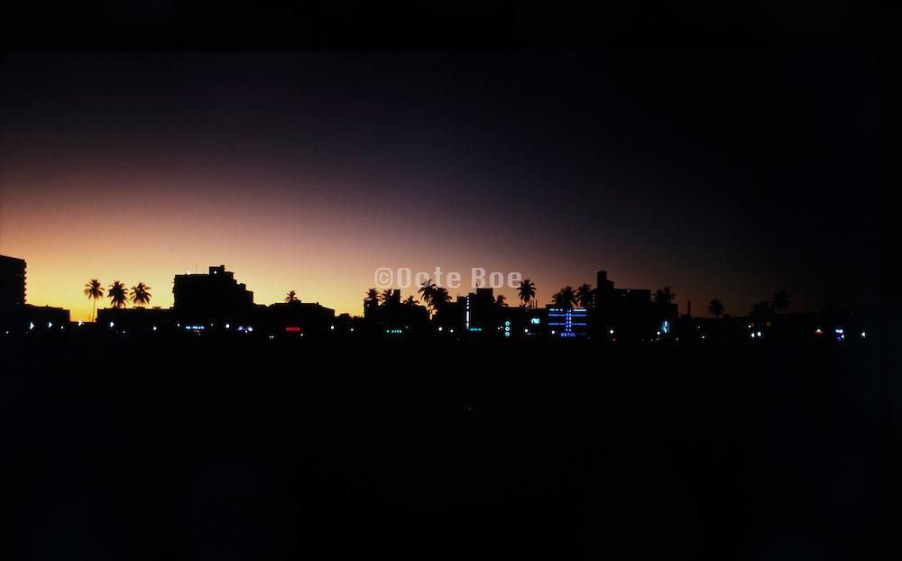 art deco district South Miami Beach USA at Sun set