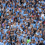 NYCFC fans in action during the New York City FC Vs New York Red Bulls, MSL regular season football match at Yankee Stadium, The Bronx, New York,  USA. 28th June 2015. Photo Tim Clayton
