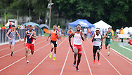Rancocas Valley's  Iverson Clement leads the 4x100 during the Burlington County Track and Field Open Championship Boys and Girls at Rancocas Valley High School Saturday May 21, 2016 in Rancocas, New Jersey. (Photo by William Thomas Cain)