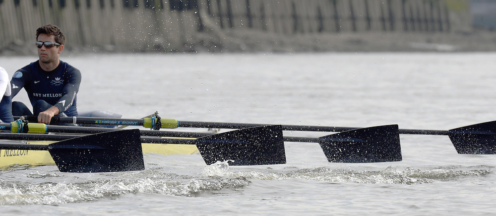 London, United Kingdom.  Saturday Morning, Oxford Bow. Storm URU, with a good view of the bow side blade work. Oxford Blue Boat training outing.  2014, Varsity, Tideway Week, annual training week, both crews based at Putney, Championship Course,  River Thames;   10:36:25   Saturday  05/04/2014 [Mandatory Credit; Peter SPURRIER/ Intersport Images]. 160th Boat Race