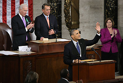 U.S. President Barack Obama (1st, R) delivers his 2013 State of the Union address at the Capitol in Washington D.C., the United States, February 12, 2013. Photo by Imago / i-Images...UK ONLY