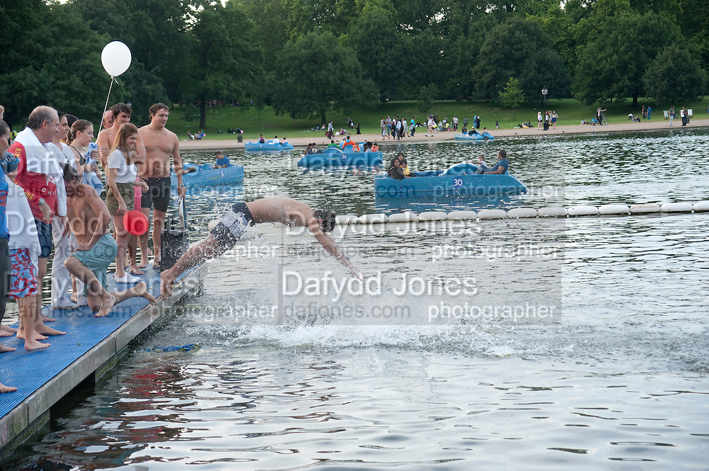 Chucs Dive & Mountain Shop charity Swim Party: Lido at The Serpentine. London. 4 July 2011. <br /> <br />  , -DO NOT ARCHIVE-© Copyright Photograph by Dafydd Jones. 248 Clapham Rd. London SW9 0PZ. Tel 0207 820 0771. www.dafjones.com.
