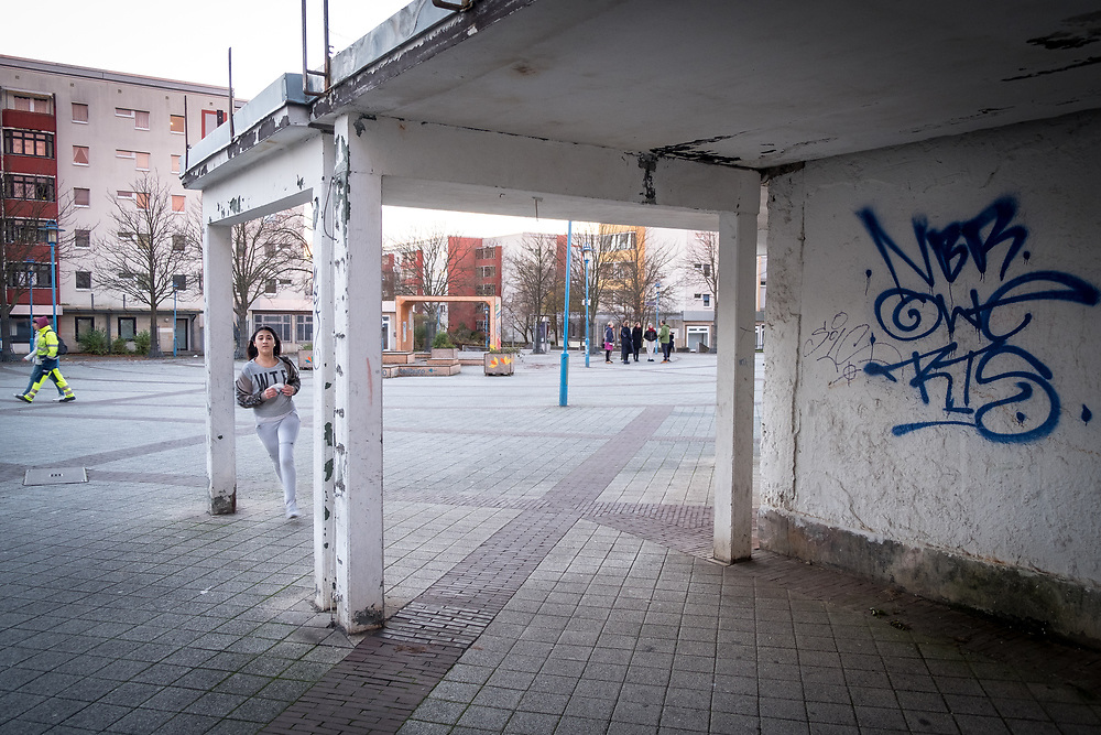 Germany - Deutschland - Berlin Marzahn-Hellersdorf; AFD stronghold in Eastern Berlin; Here: Hellersdorf, Boulevard Kastanienallee; abbanoned shopping mall; 23.11.2017; © Christian Jungeblodt