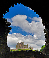 A view of the Rock of Cashel from inside Hore Abbey.